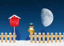 Bird postman with letter of Santa Claus Stock Images
