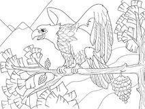 The bird of prey is an eagle on a tree branch. Falcon on the Christmas tree. Coloring children vector illustration