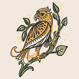 Bird of prey sitting on a branch. Vector hand drawn illustration in folkloric style Stock Photo