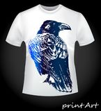 Bird of a raven on a T-shirt Royalty Free Stock Image