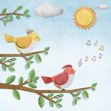 Bird recycled paper craft Stock Photo
