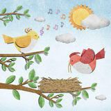 Bird recycled paper craft Royalty Free Stock Images
