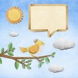 Bird recycled papercraft background Royalty Free Stock Photos