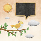 Bird  recycled papercraft background Royalty Free Stock Photo