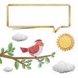 Bird  recycled papercraft background Stock Images