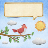 Bird  recycled papercraft background Stock Photo