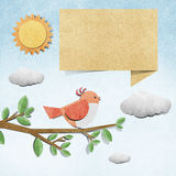 Bird  recycled papercraft background Stock Photos