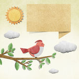 Bird  recycled papercraft background Royalty Free Stock Images