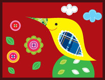 Bird in red garden. Cute sweet bird in the happy garden with love Royalty Free Stock Photos