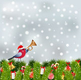Bird with red hat and christmas elements Stock Images