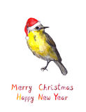 Bird in red santa hat. Watercolour christmas greeting card Stock Images