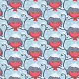 Bird red sleep vector seamless pattern. Winter background. Royalty Free Stock Image