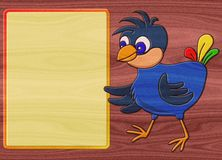 Bird relief painting on generated wood texture background Stock Image
