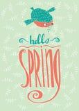Bird reports Hello Spring Stock Image