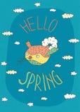 Bird reports Hello Spring Stock Photos