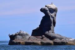 Bird rock, Rock Spirit : Vulcanic rock formation on Corona Island, Loreto Mexico. Unusual volcanic rock formation on Corona island, Loreto, Baja California royalty free stock photos