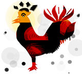 Bird-rooster. Abstract Background with  fantasy bird Stock Photo