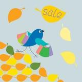 Bird runs with shopping  sale Stock Photos