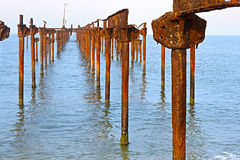 A bird on rusty, corroded pillars in ocean Stock Photos