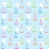 Bird's background. Blue sealess background with bird and cage Stock Illustration