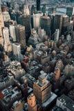 A bird`s eye aerial cityscape view of Midtown Manhattan, New York City stock image