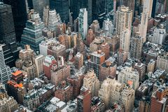 A bird`s eye aerial cityscape view of Midtown Manhattan, New York City royalty free stock images