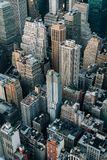 A bird`s eye aerial cityscape view of Midtown Manhattan, New York City royalty free stock photo