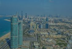 Bird`s eye and aerial drone view of Abu Dhabi city from observation deck stock images