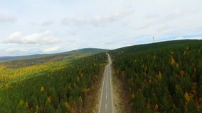 A bird's-eye aerial flight over the road autumn forest. Russia Buryatia. A bird's-eye aerial flight over the road autumn forest on the way to Lake Baikal. Russia stock footage