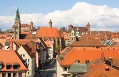Bird's-eye Ansicht der Nürnberg-Dächer Stockbilder