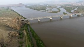 A bird's-eye bridge over the Selenga River, Ulan-Ude, Buryatia, Russia stock video