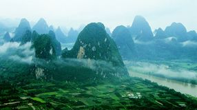 Bird's eye mountains and river of the Lijiang in G Stock Photos
