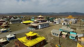A bird's-eye video shooting drone center of Russian Buddhism. stock footage
