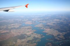 Bird's eye view. View from an aircraft window Stock Images