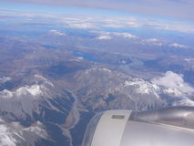 Bird´s eye view. The aerial view of Southern Alps, New Zealand Royalty Free Stock Image