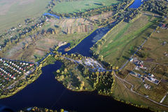 Bird's eye view. Picture taken from high above while flying on microlight Royalty Free Stock Photo