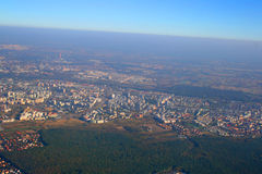 Bird's-eye view. Aerial view of the Polish capital - Warsaw royalty free stock photo