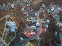 A bird`s eye view, aerial view shooting from drone of the Podol district, oldest historical center of Kiev, Ukraine. Aerial panoramic view from the drone, bird` Royalty Free Stock Images