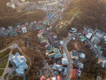 A bird`s eye view, aerial view shooting from drone of the Podol district, oldest historical center of Kiev, Ukraine. Aerial panoramic view from the drone, bird` Royalty Free Stock Image
