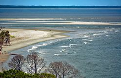 Bird`s Eye View from Top of Hunting Island Lighthouse. Bird`s eye view of the Atlantic Ocean from the viewing platform of the Hunting Island lighthouse royalty free stock photo