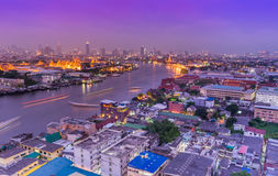 Bird's eye view of Bangkok city and main river at night Royalty Free Stock Image