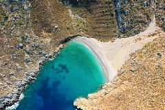 Bird`s eye view of bay with beautiful beach near Sikati cave stock images