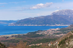 Bird's eye view of Bay of Kotor and Tivat city. Montenegro Royalty Free Stock Images