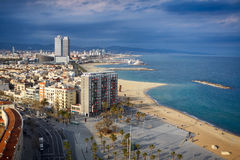 Bird's eye view at the beach of Barcelona, Spain. Stock Photography