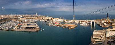 Bird's eye view at the beach of Barcelona, Spain. Royalty Free Stock Photo