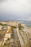 Bird s eye view at the beach of Barcelona, Spain Stock Photos
