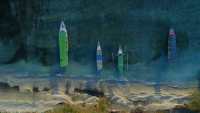 Fishing Boats Anchored on a Beautiful Beach