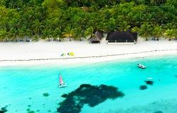 Bird's-eye view of beach resort in maldives stock photo