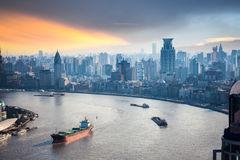 A bird's eye view of beautiful huangpu river Stock Images