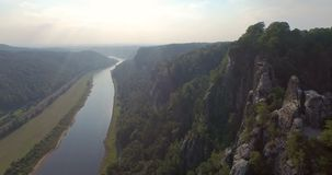 Aerial view a magnificent panoramic of Bastai in Germany next to the river stock footage